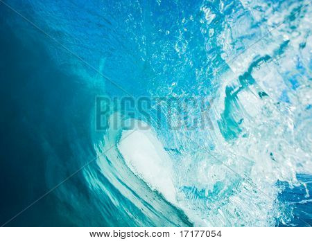 Blue Ocean Wave, View in the Tube a Surfers Perspective