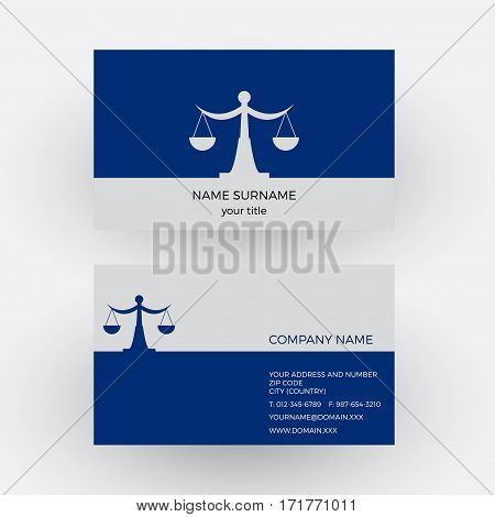 Vector abstract balance and libra. Lawyer business card