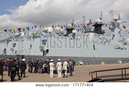 NOVOROSSIYSK, RUSSIA, MAY 9, 2015: Missile frigates naval forces of the Republic of China
