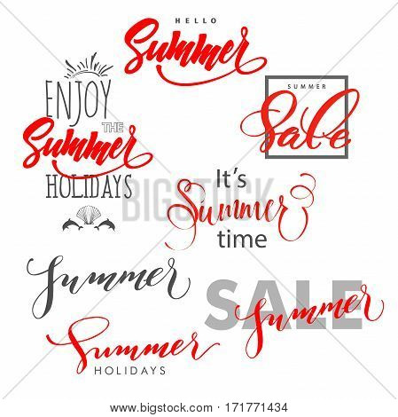 Summer.Summer design summer sale. Enjoy the summer holidays. lettering Hand written typography typography design. Summer Concept