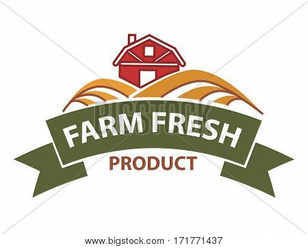 Farm harvest field and farmer house vector logo ribbon for agriculture products label, bread bakery, vegetable or butchery meat store or market sign