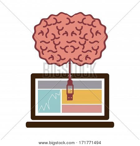 laptop and usb connected to brain vector illustration