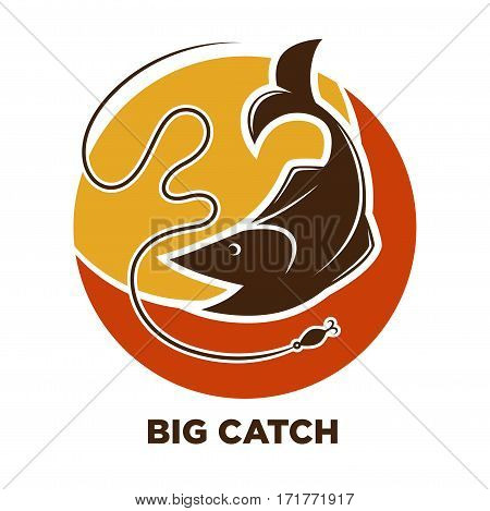 Fishing icon or logo template. Big fish catch on hook of rod. Fishery industry or fisherman club and fisher sport adventure vector symbol for seafood market or store