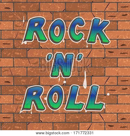 Vector illustration of a colorful blue green lettering on a brown brick wall rock 'n' roll.