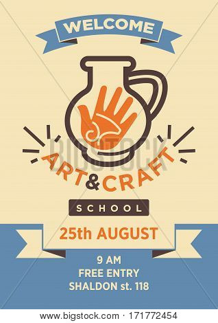 Art and craft school or studio welcome poster template for workshop event. Vector symbol of pottery handicraft exhibition