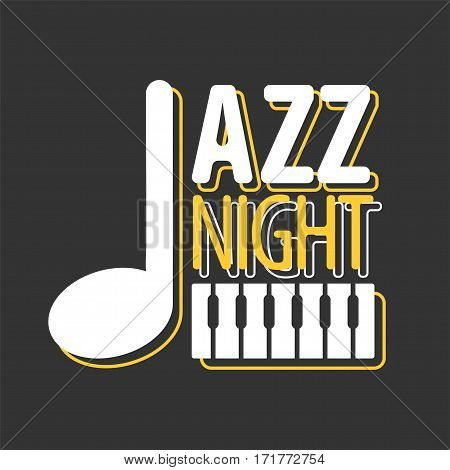 Jazz night musical art poster vector template of piano key stave and music note for performance party in cafe