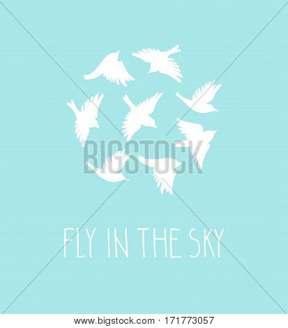 Vector birds silhouette set. Blue postcard with birds and stylish phrase