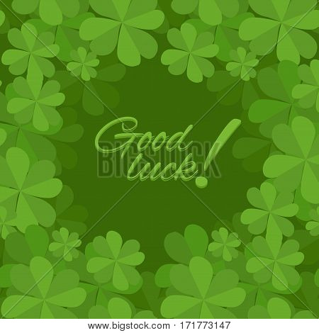 Festive square frame with a happy four-leaf clover. Postcard St. Patrick. Good luck