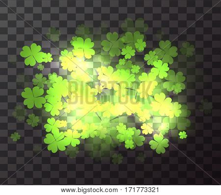 Vector transparent element with a happy four-leaf clover sparks and blurred bokeh. St.Patrick 's Day. Celebratory element for your design