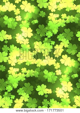 Seamless festive texture with a happy four-leaf clover sparks. Vector pattern for your creativity