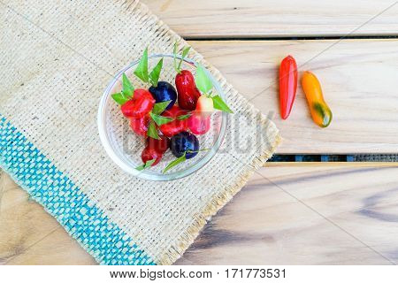 Thai Sweet Bean Confections plating on sack on wooden table