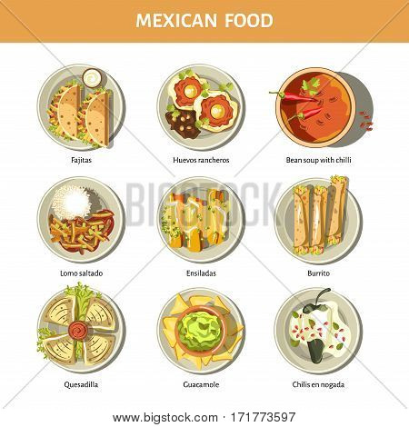 Mexican food cuisine for restaurant menu. Mexico traditional meal dishes fajitas, burrito, enchilada or quesadilla with guacamole and salsa sauce and spicy chili pepper or bean soup. Vector icons