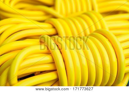close up yellow line electric extension cord