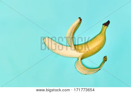 Single fresh semi-purified banana against the blue background