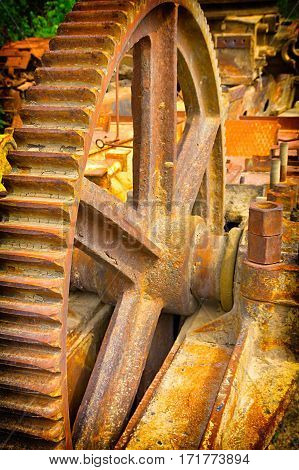 Old rusty mechanisms of industrial equipment background