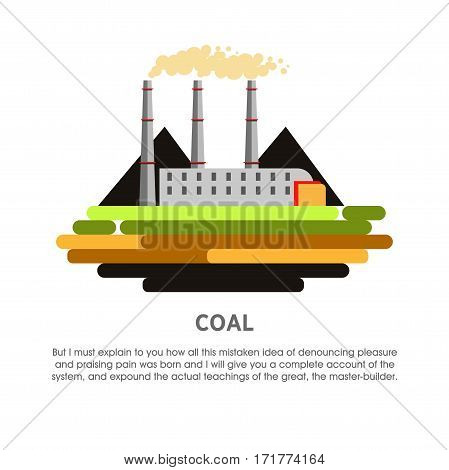Coal power station vector flat illustration. Electricity energy plant or powerhouse operating by coal-fired fossil fuel combustion for electric generation industry