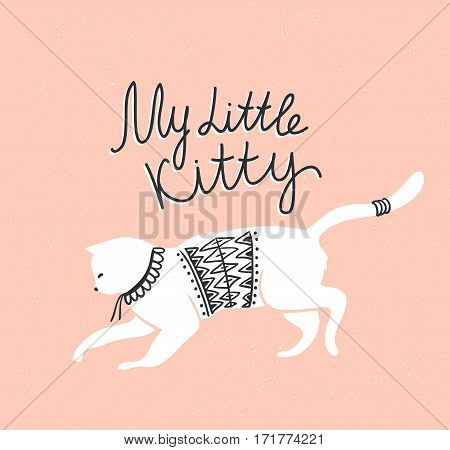 Vector card with cute white cat and stylish lettering 'my little kitty' on the grunge background.