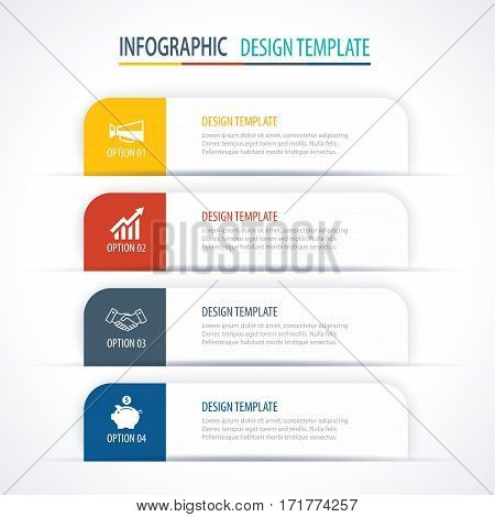Modern tab index infographic options template with paper sheets. Vector element can be used for web design and workflow layout.