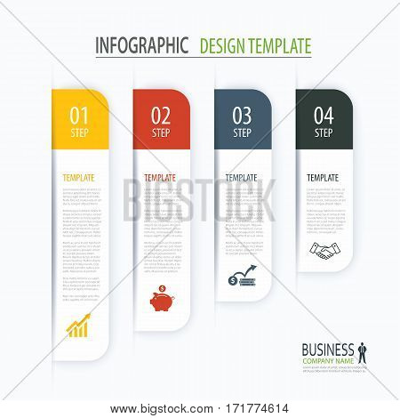 Modern tab index infographic options template with paper sheets. Step business growth. Vector element can be used for web design and workflow layout.
