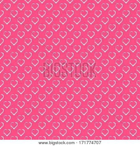 Love hearts Valentin s Day Seamless Pattern. White hearts on pink background. Love vector illustration