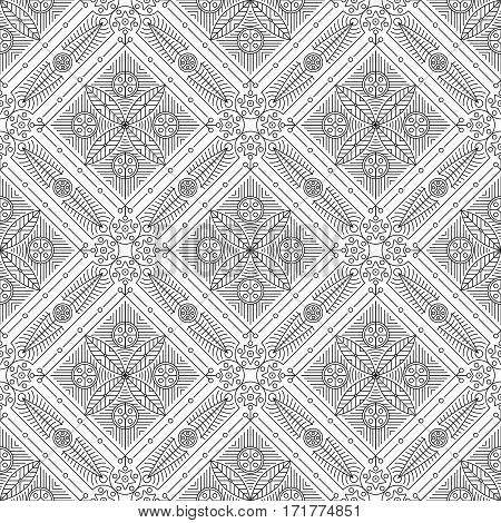 Old slavonic seamless pattern beige. vector illustration
