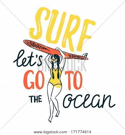 Vector sketch of young woman in swim suit silhouette holding surfboard. Summer background with stylish lettering