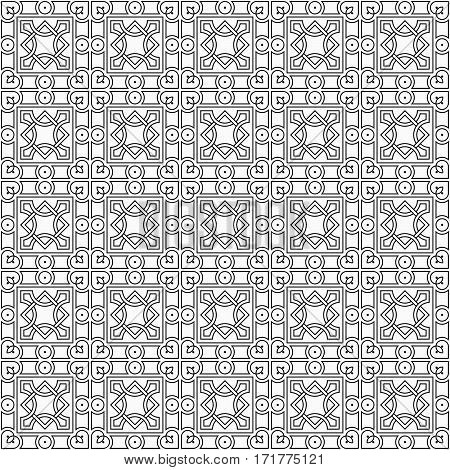 Vector seamless pattern. Modern stylish texture. Repeating geometric tiles. Linear monochrome cubes.