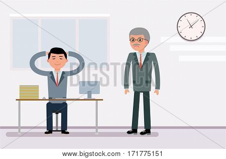 The clerk in the Bank resting, the Director of fury. Cartoon flat vector illustration poster