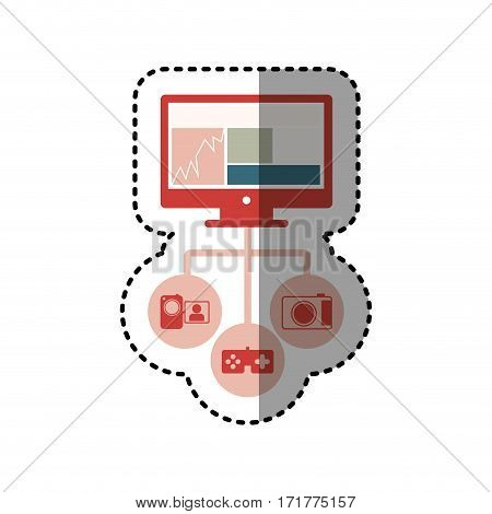 sticker colorful screen computer with icon apps vector illustration