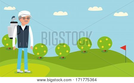 An elderly man, Director of the company came to the Golf course to play. Cartoon flat vector illustration