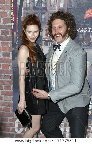 LOS ANGELES - FEB 15:  Kate Gorney, T. J. Miller at the