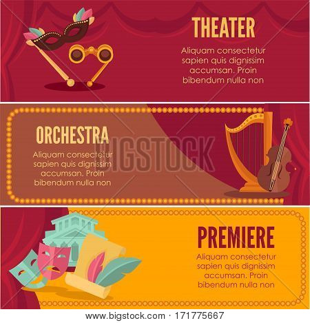Theater or orchestra premiere vector templates. Opera performance night announcement banners, posters or tickets with red stage curtain drapery background