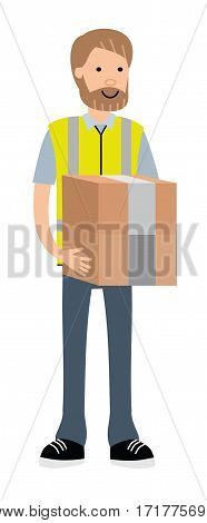 A warehouse worker with boxes for storage on a white background. Cartoon flat vector illustration