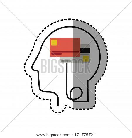 sticker silhouette profile human head with debit and credit cards vector illustration