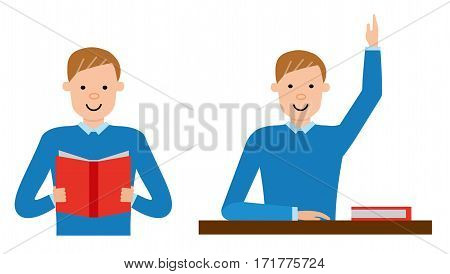 The student is learning the material in the textbook, and then answering in the exam. Vector flat design illustrations isolated on white background.