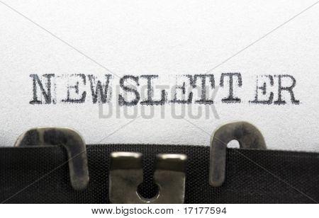 Typewriter closeup shot, concept of Newsletter