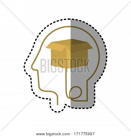 sticker silhouette profile human head with carton box vector illustration
