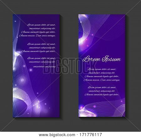 Vector leaflets flyers brochure blank template with metamorphosis of lines curves sparks and place for text for your design.