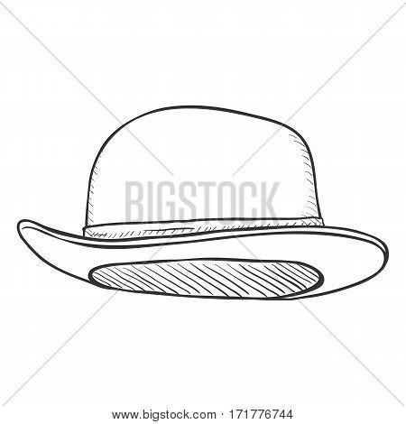Vector Single Sketch Bowler Hat