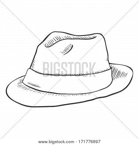 Vector Single Sketch Fedora Hat