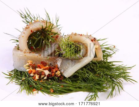 Roll With Herring.herring On Pertse.esklyuziv Dish Of Ryby.file Capelin. Preservation Of Herring.