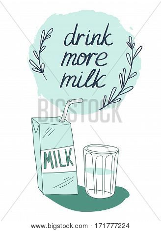 Milk graphic design vector illustration with stylish milk box and glass. Vector background with stylish lettering