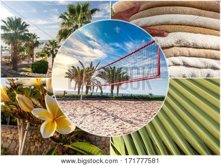 The beach at the luxury hotel, Sharm el Sheikh, Egypt. Collage