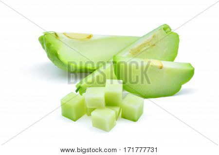 sliecd fresh chayote isolated on white background