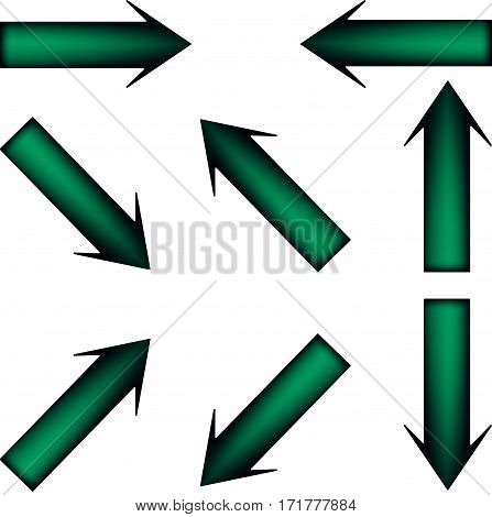 The green arrows on white background aimed in different directions
