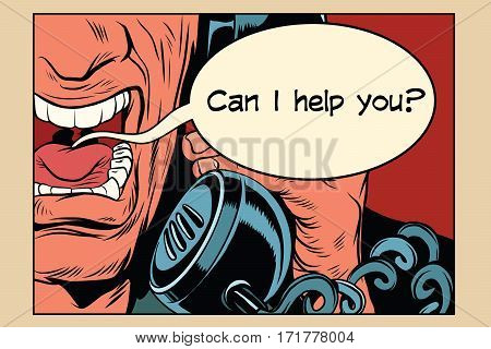 Can i help you. Angry man talking on the phone. Vintage pop art retro comic book vector illustration