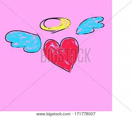 Schematically drawn pink heart with wings and a halo