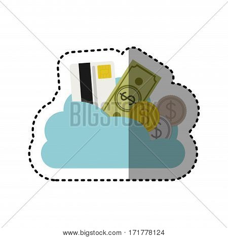sticker cloud in cumulus shape with elements investment vector illustration
