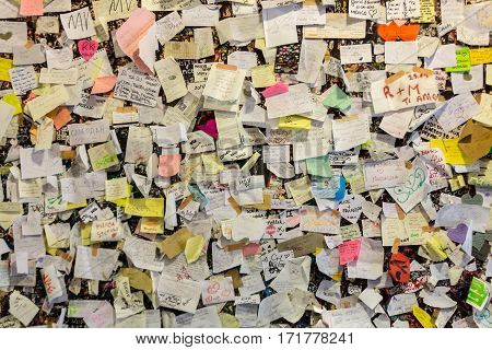 VERONA, ITALY - MAY 1, 2016: Part of the wall covered with love messages in Juliet house Verona Italy
