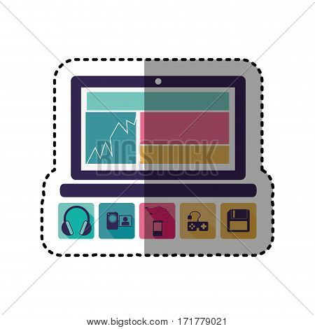 sticker colorful tech laptop with icon apps vector illustration